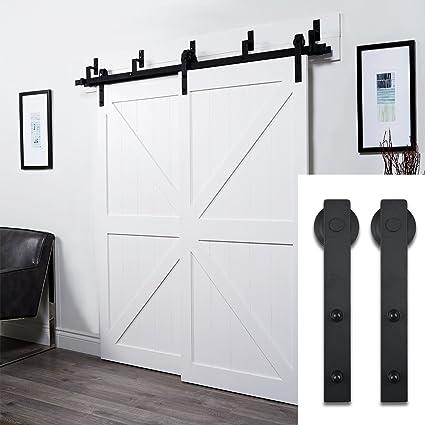 [UPGRADED] Penson U0026 Co. 6.6FT Bypass Double Sliding Barn Door Hardware Set