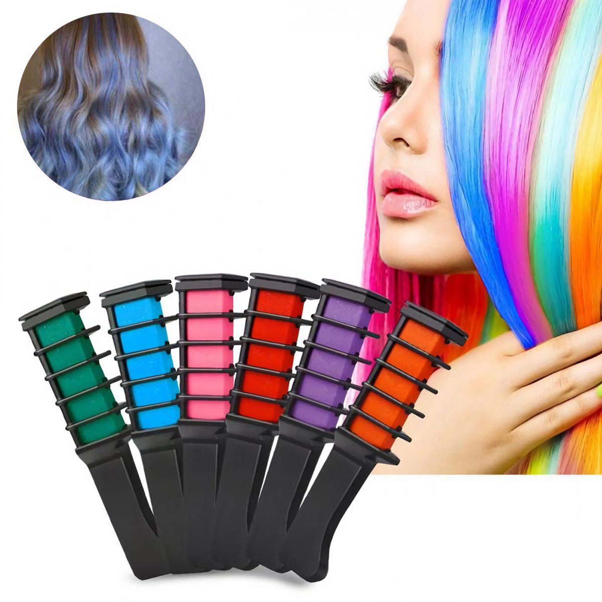 Temporary Hair Chalk Hair Color Comb Washable Hairs Color Dye Salon Kits Party Fans Cosplay (6pcs) Suces