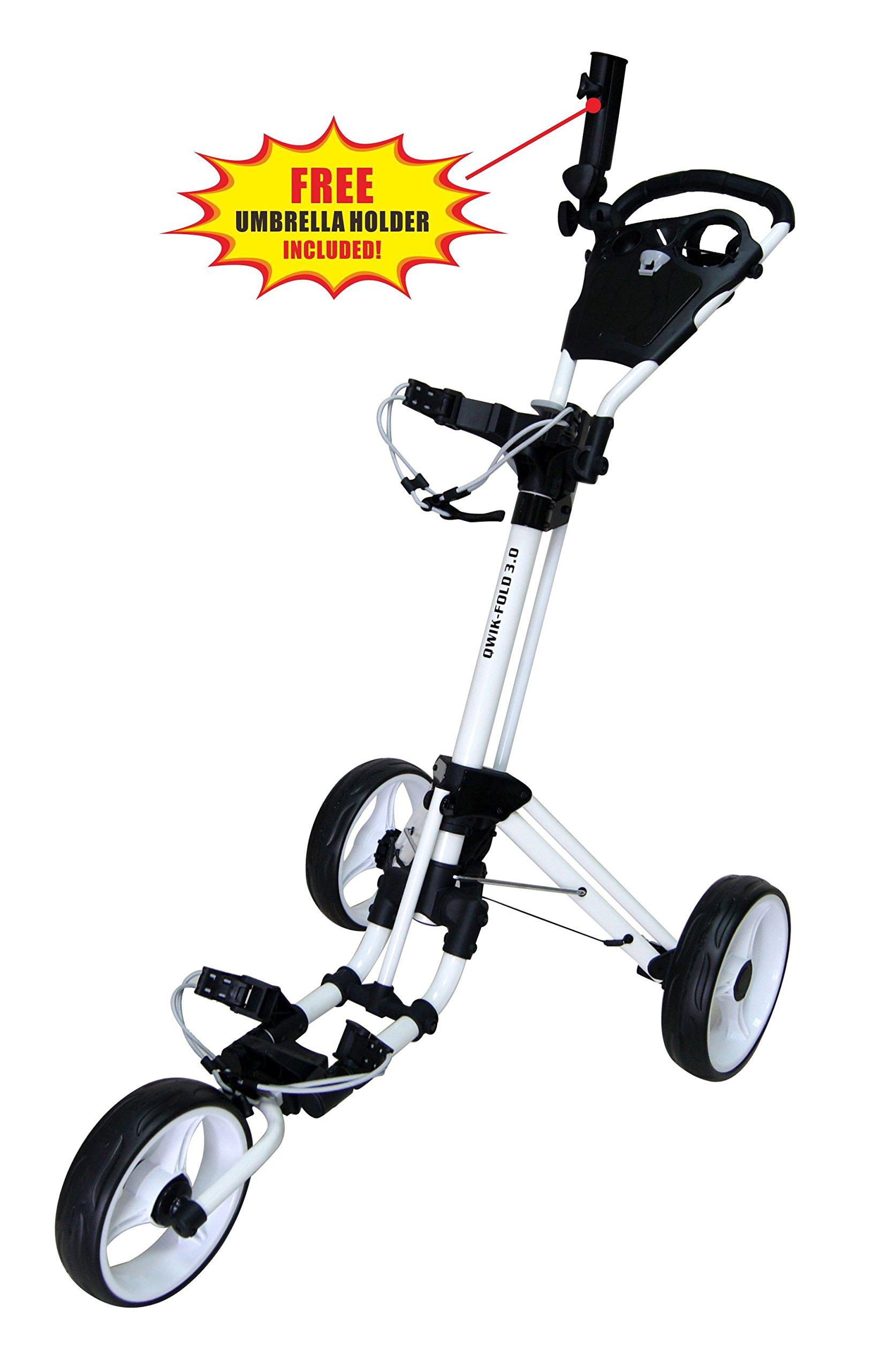 QWIK-FOLD Chariot À 3 Roues Chariot De Golf À Pousser À Tirer - Frein Au Pied - Une Seconde pour L'Ouvrir Et Le Fermer! product image