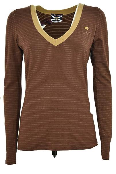 Camiseta de Mujer con Cuello en V de Color Marrón Rayas Horizontales -  Johnny Corderos - Marrón adb9bb56bca9