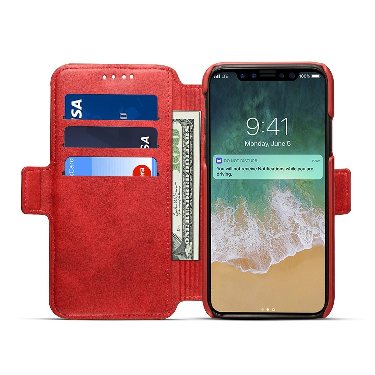 Scheam iPhone X Flip Cover, Case, Skins Card Slot [Stand Feature] Leather Wallet Case Vintage Book Style Magnetic Protective Cover Holder for iPhone X - Red by Scheam (Image #6)
