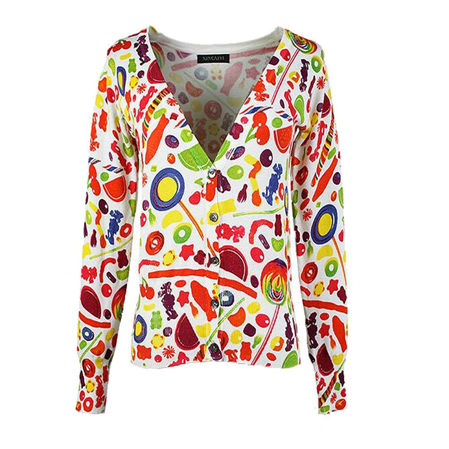 Women's petite fruit printing V-neck short cardigan sweater