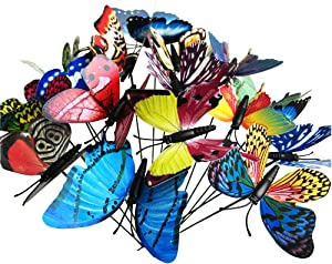 """Decorative Garden Stakes,50pcs(3.15"""" W10 H) 3D Butterfly Ornaments, PVC Waterproof Butterfly Decorations for Indoor/Outdoor Yard, Patio Plant Pot, Flower Bed, Christmas Decoration with Fluorescent"""