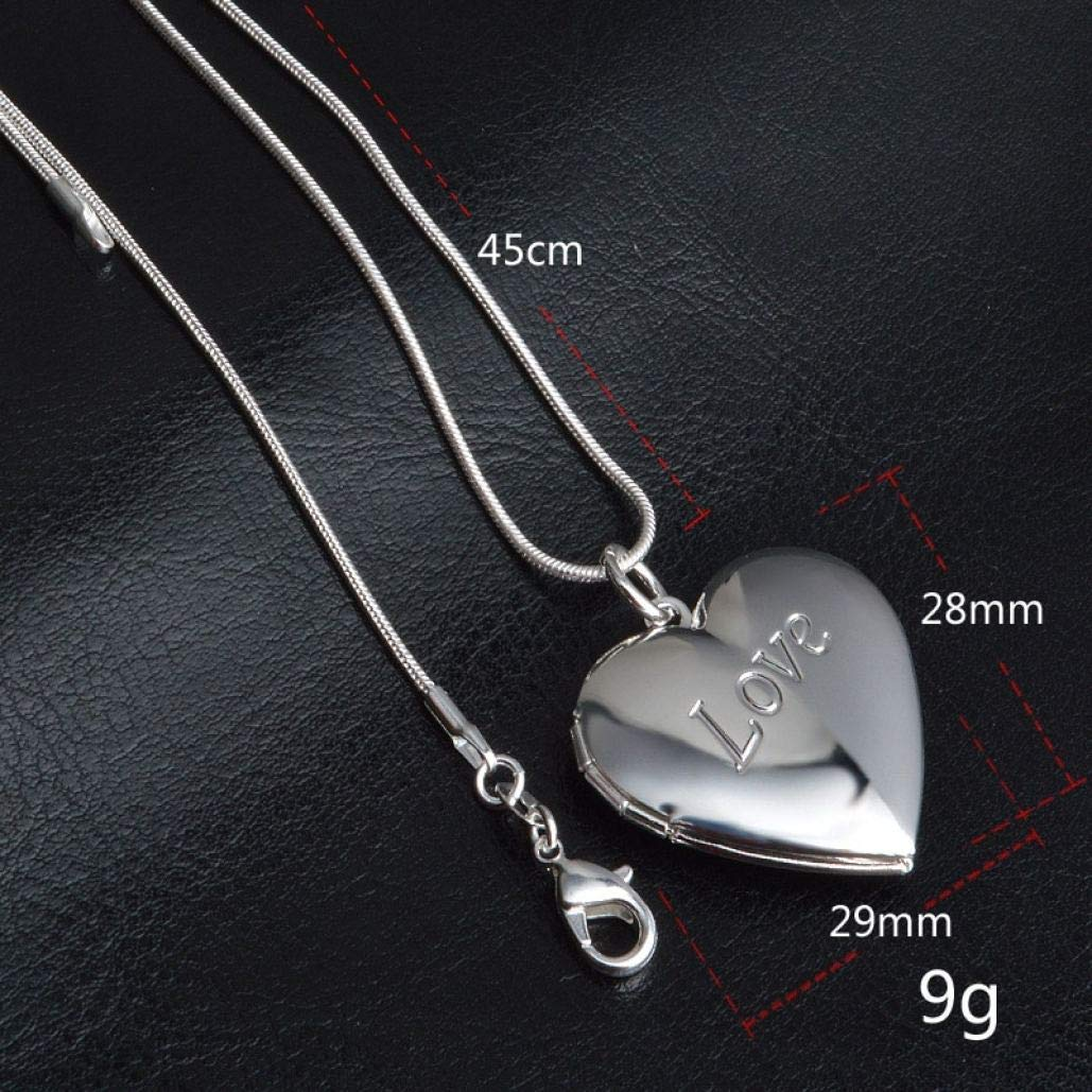 Tsavm 925 Sterling Silver Necklace Chain Plated Forever Lover Heart Pendant Necklace Charms