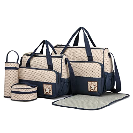 a9e03d5bb2 Miss Lulu 5pcs Baby Nappy Changing Bags Set Multifunction Diaper Messenger  Hospital Maternity Polyester Bag Set with Dots Print Design (Navy Set): ...