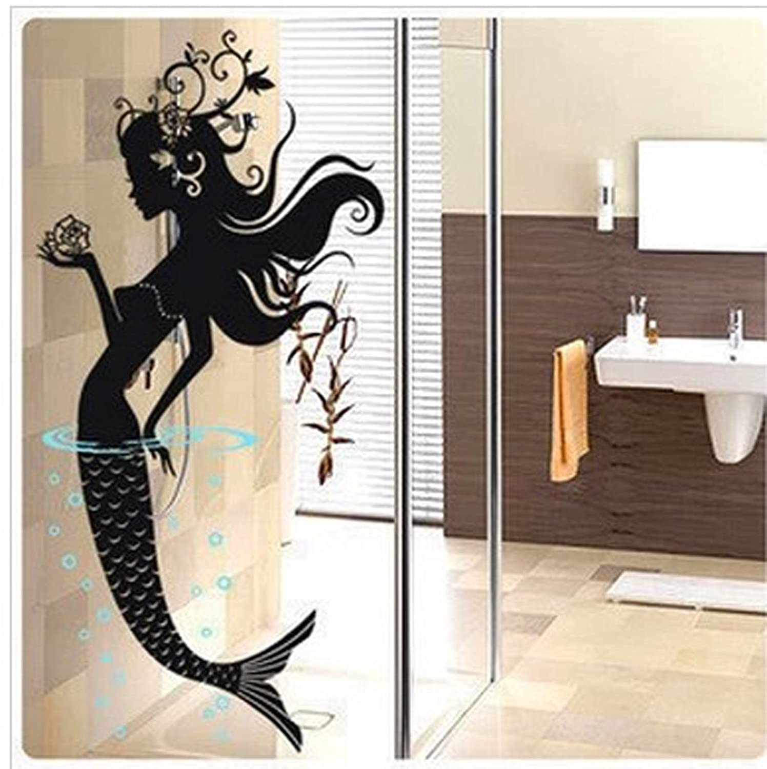 Amazoncom Mermaid Bathroom Wall Decal Sticker Living Room Stickers Vinyl Removable Black Color High 120cm Home U0026 Kitchen