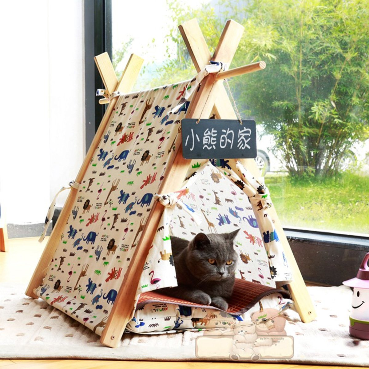 A shanzhizui Cat nest Closed type Small dog yurt Pet tent room Washable Teddy Kennel Four seasons available, A