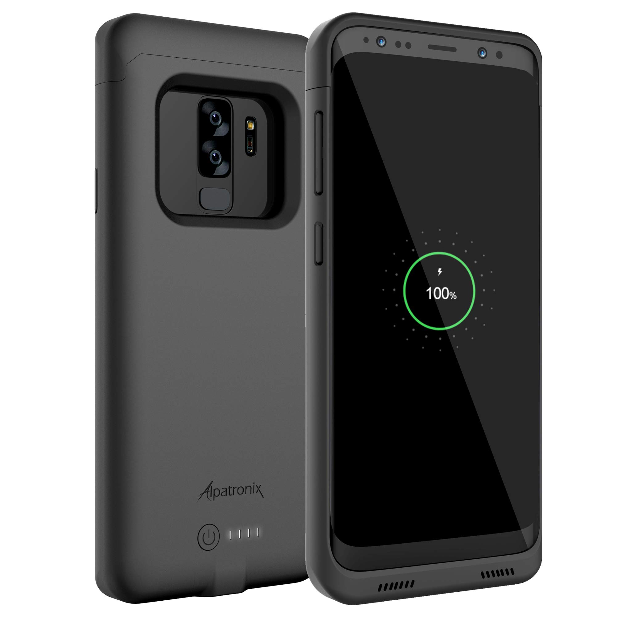 Galaxy S9 Plus Battery Case with Qi Wireless Charging Compatibility, Alpatronix BX440plus 6.2-inch 4600mAh Slim Rechargeable Protective Portable Backup Charger for Samsung S9+ [Android 8.0] - Black by Alpatronix