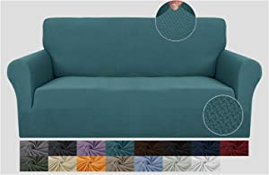 JIVINER Super Stretch 1 Piece Sofa Covers for 3 Cushion Couch Newest Jacquard Non Slip Sofa Slipcovers Thick Couch Covers for Pets Furniture Protector with Elastic Bands (Sofa, Peacock Blue)