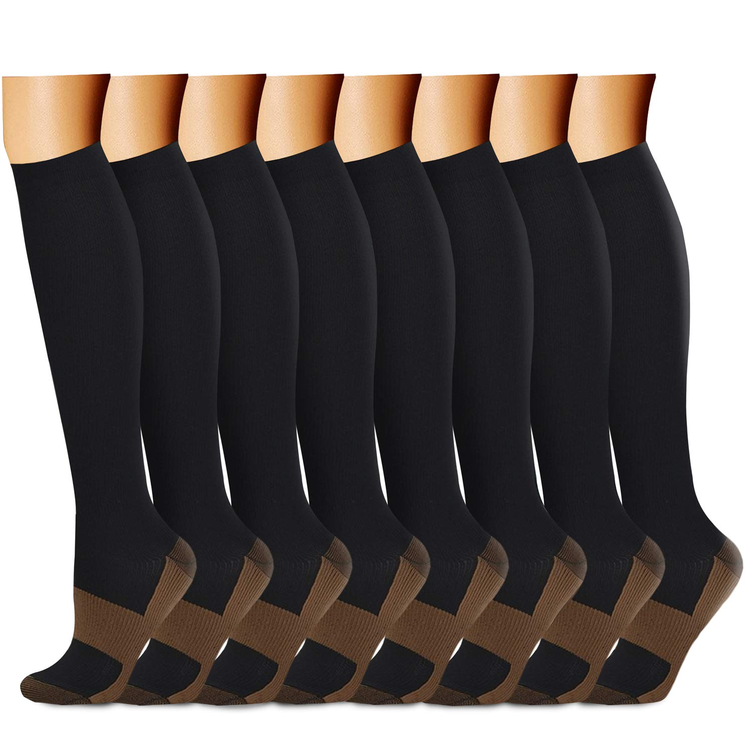 QUXIANG Copper Compression Socks for Women and Men - Best Medical Sports, Nursing, Running, Cycling, Athletic, Edema, Diabetic, Varicose Veins, Travel, Pregnancy & Maternity 15-20 mmHg (S/M, Multi 01)
