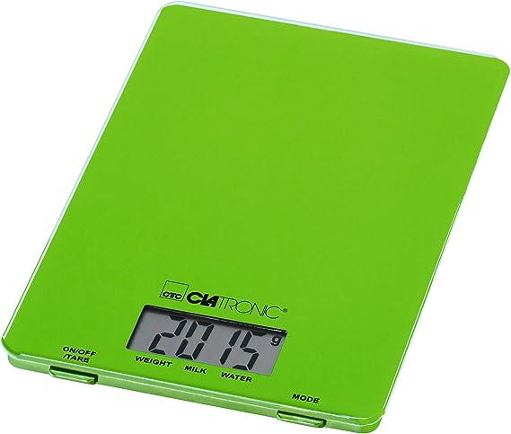 Clatronic KW 3626 Báscula de Cocina Digital, 5 kg Pasos 1 g, función Tara, Verde: Clatronic: Amazon.es: Hogar