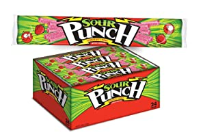 Sour Punch Strawberry Sour Straws 2oz Tray (Pack of 24)