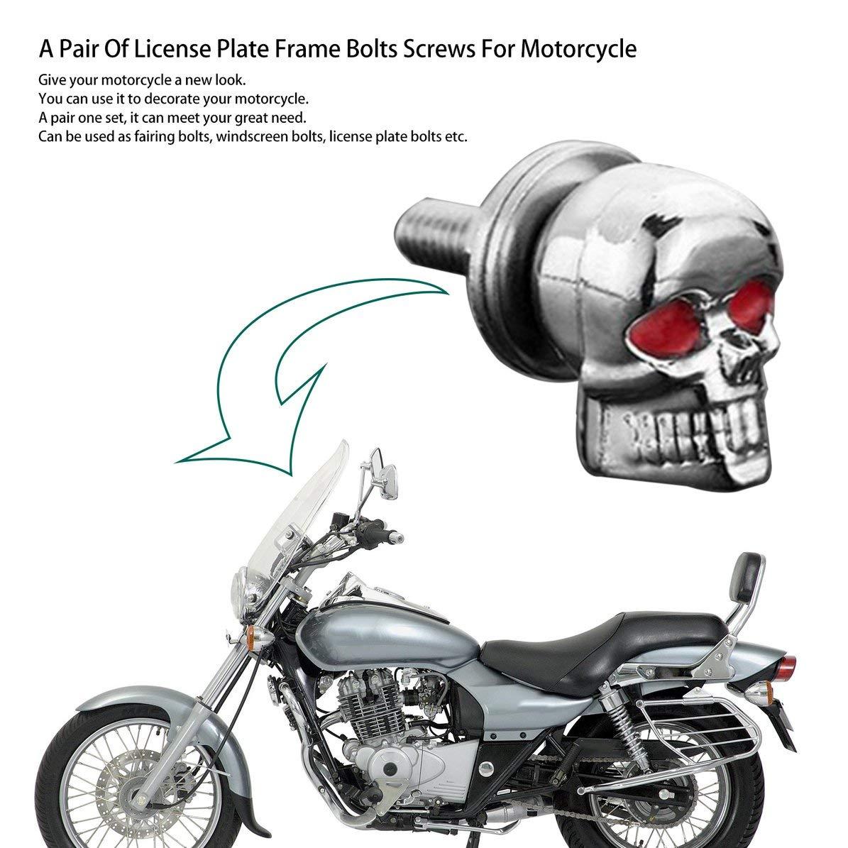 Ein Paar//Satz Motorrad Autozubeh/ör Sch/ädel Nummernschild Rahmen Schrauben Schraube