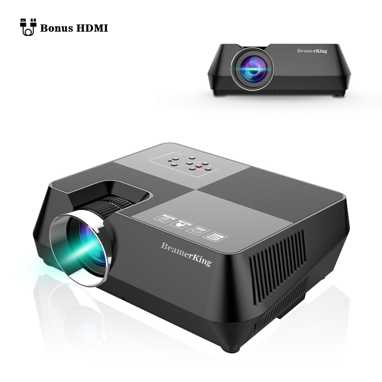 BeamerKing Projector Home Theater Video +30% Lumens Mini Portable Led Projectors Projector Up 170'' Full HD 1080P Movie Screen with HDMI USB VGA AV for iPhone Laptop Android DVD Smartphone PS4 Ipad