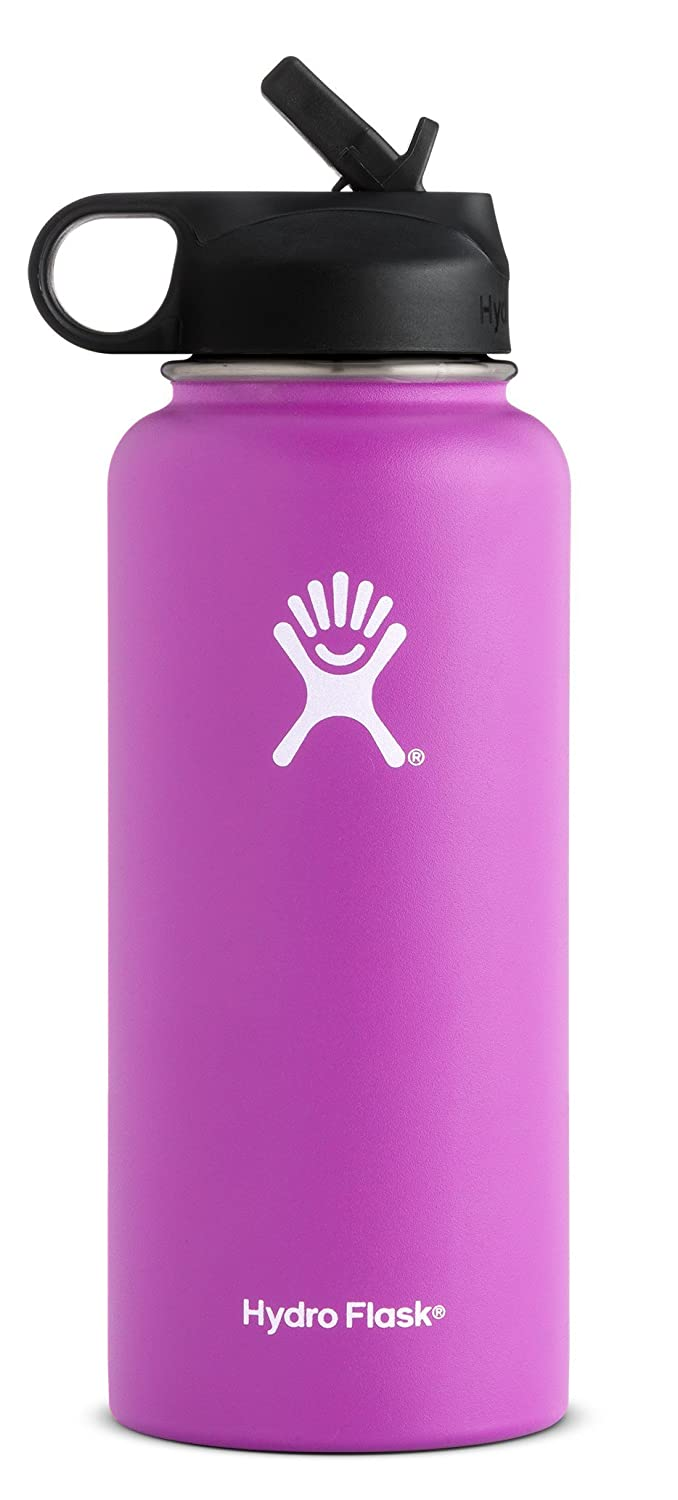 Raspberry 1 EA Hydro Flask Double Wall Vacuum Insulated Stainless Steel Sports Water Bottle, Wide Mouth with BPA Free Straw Lid