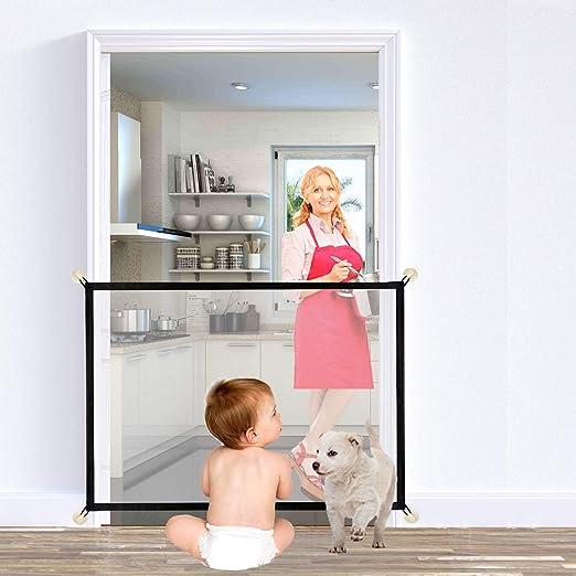 Puerta mágica para perros, puerta de escalera plegable portátil y segura para mascotas, red de aislamiento para interior y exterior, instalación en cualquier lugar para perros y gatos, 100 x 75 cm: