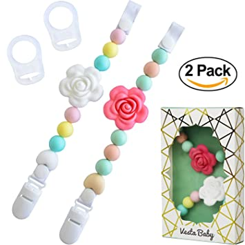 Feeding Colorful Flower Chain Baby Pacifier Soother Handmade Silicone Dummy Clip Rose Pacifier Clip Chain Nursing Shower Toy For Kids Yet Not Vulgar