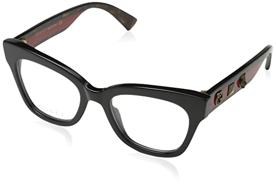 Gucci Damen Sonnenbrille GG0060O 001, Schwarz (Black/Transparent), 49