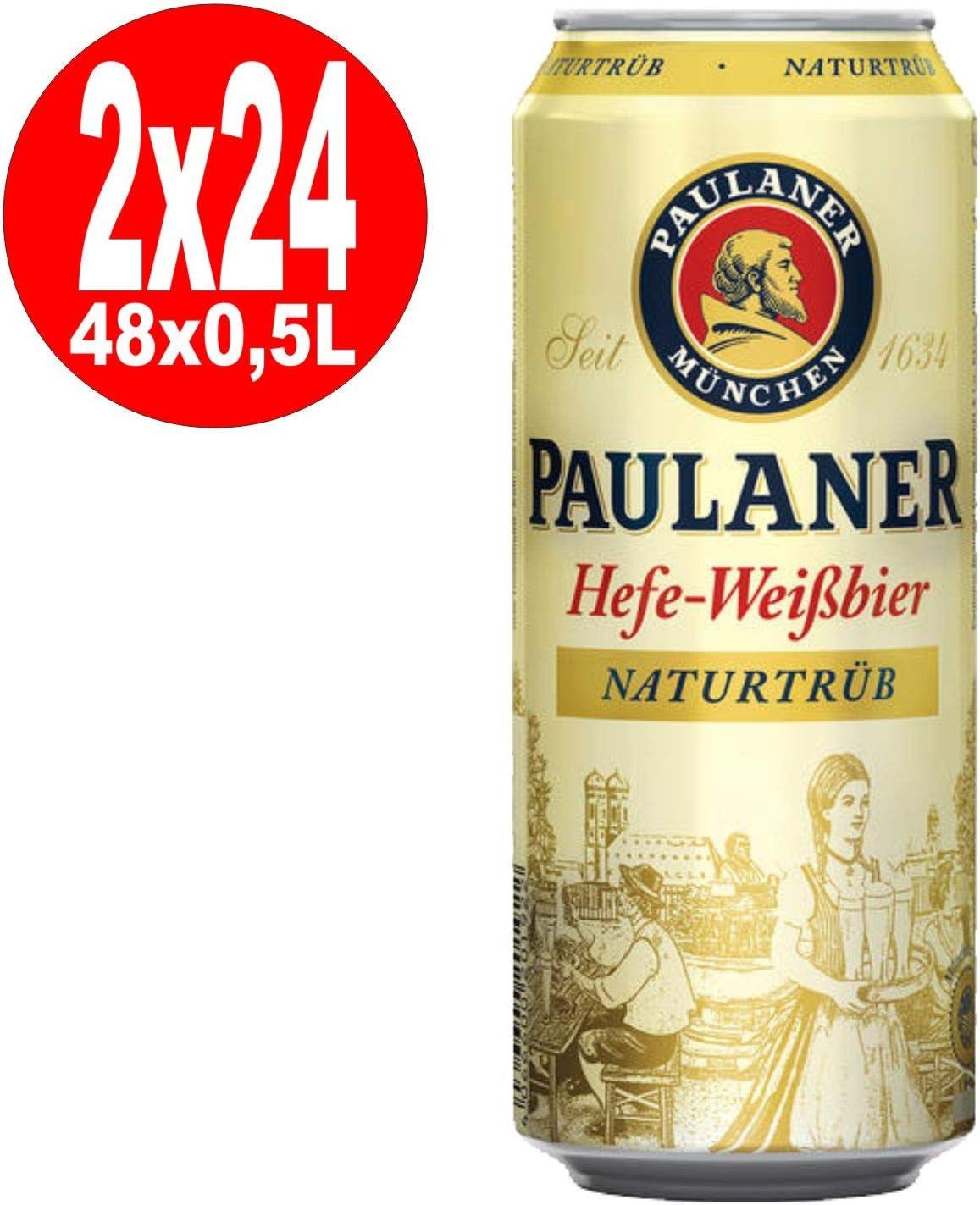 2 x 24 x Paulaner Hefeweissbier naturaleza nublado 0,5L estaño 5,5% Vol.alc