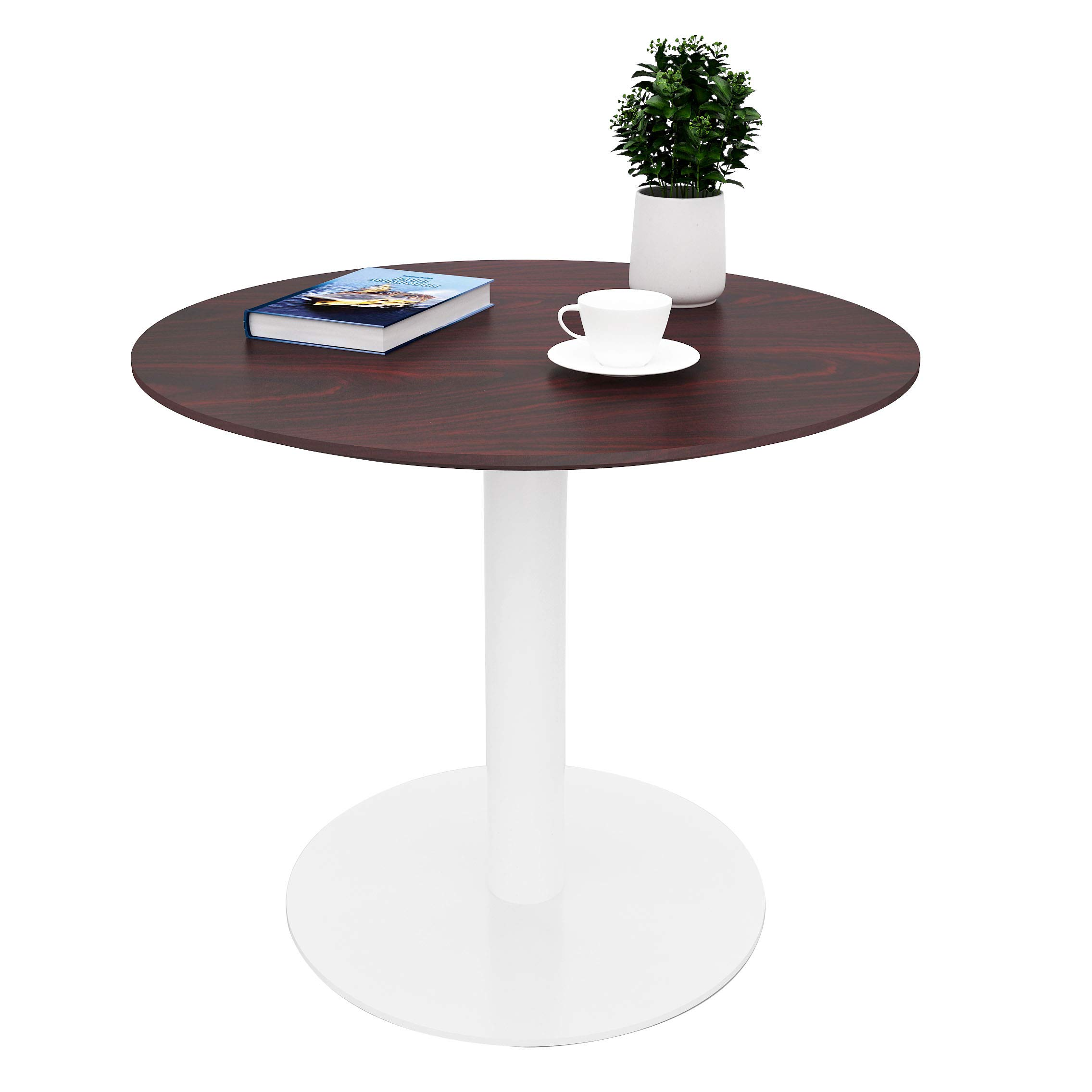Sunon Round Cafe Table,Small Pedestal Table for Pub/Conference/Living Room (27.5 x 23.6 inch Height, Mahogany) by Sunon