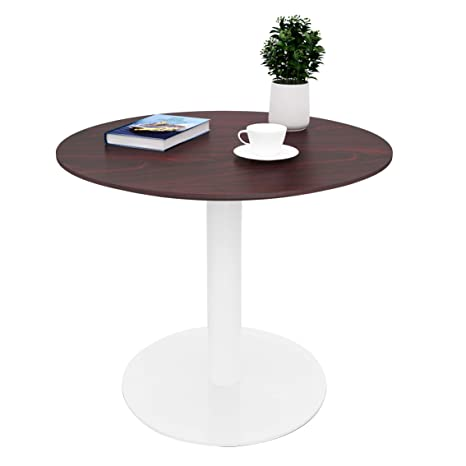 outlet store 324e6 bce65 Sunon Round Cafe Table,Small Pedestal Table for Pub/Conference/Living Room  (27.5 x 23.6 inch Height, Mahogany)