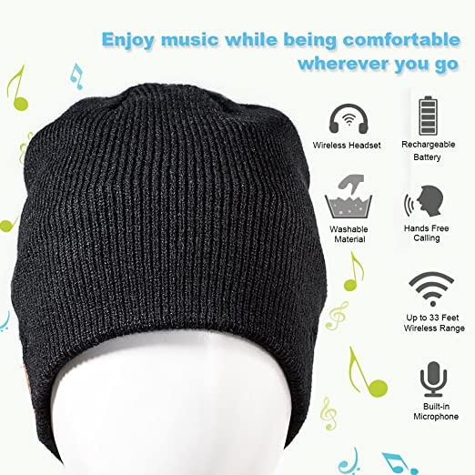 03cf89ee809 Amazon.com  Enjoybot Bluetooth Beanie Wireless Knit Winter Hats Cap with  Built-in Stereo Speakers and Microphone for Outdoor Sports  Cell Phones    ...