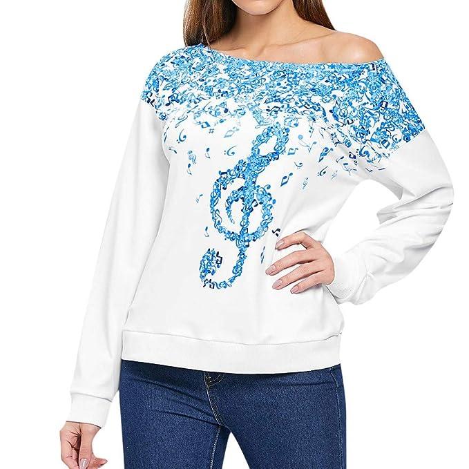 507a9d32047a SHINEHUA Bluse Damen, Damen Casual T-Shirt Top Sommer Tunika T-Shirt Hemd Sweatshirt  Pullover Frau Lange Ärmel Rundhals Unregelmäßiges Oberteil Musiknoten ...