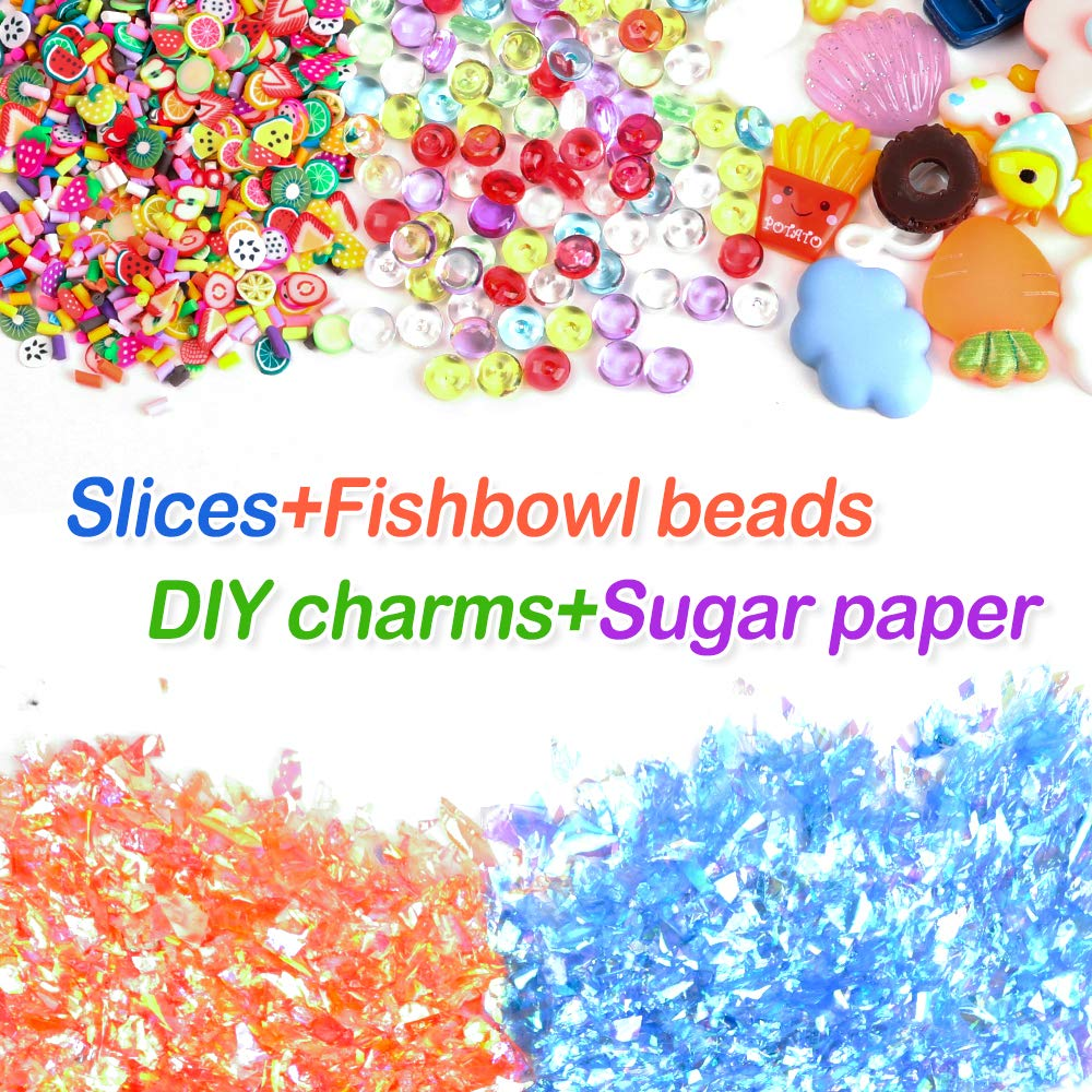 Fishbowl Beads Including Foam Balls 162 Pack Add Ins Slime Kit for Kids Girls Slime Making Charms Clear Containers by Winlip Glitter Slime Supplies Kit
