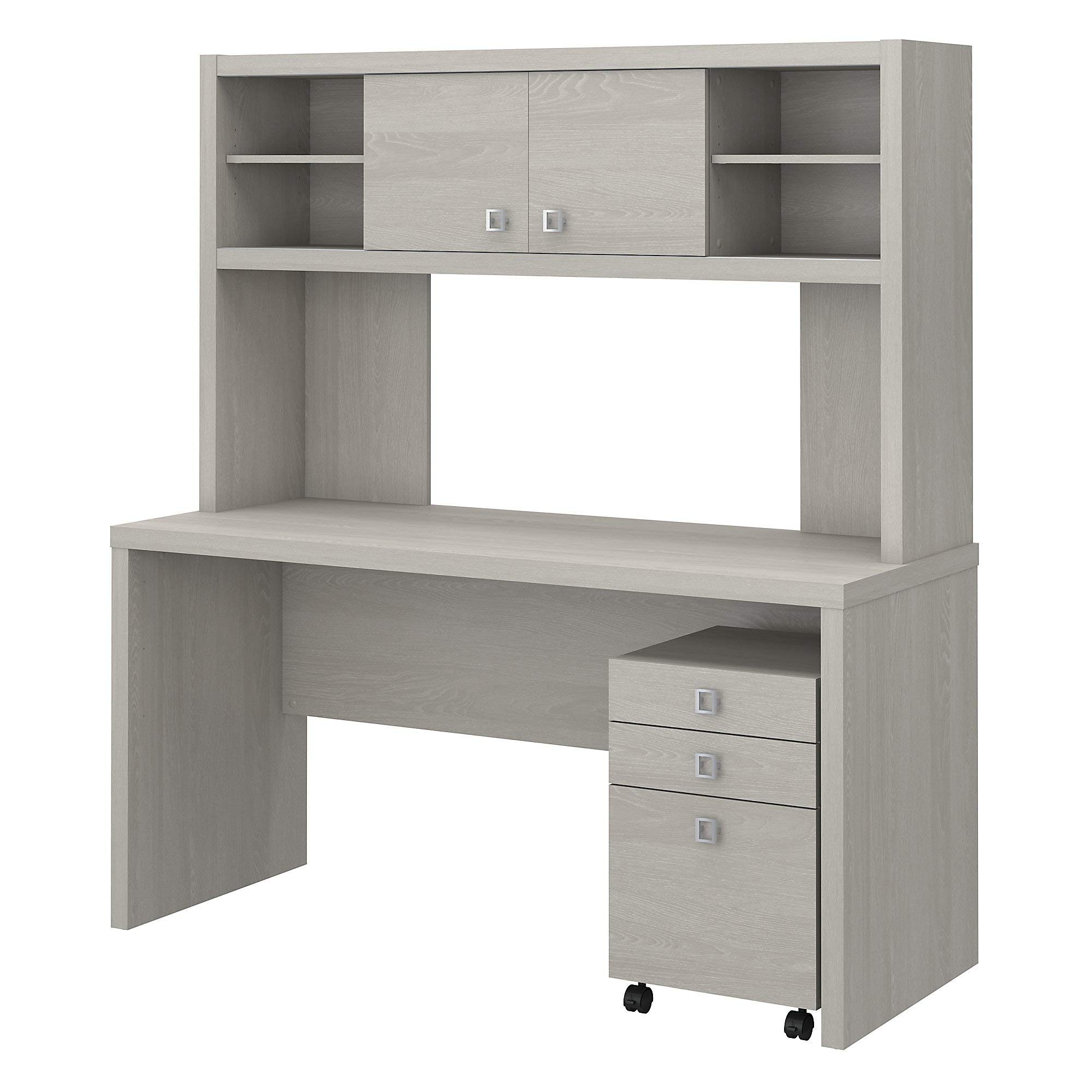 Office by kathy ireland Echo Credenza Desk with Hutch and Mobile File Cabinet in Gray Sand by Office by kathy ireland
