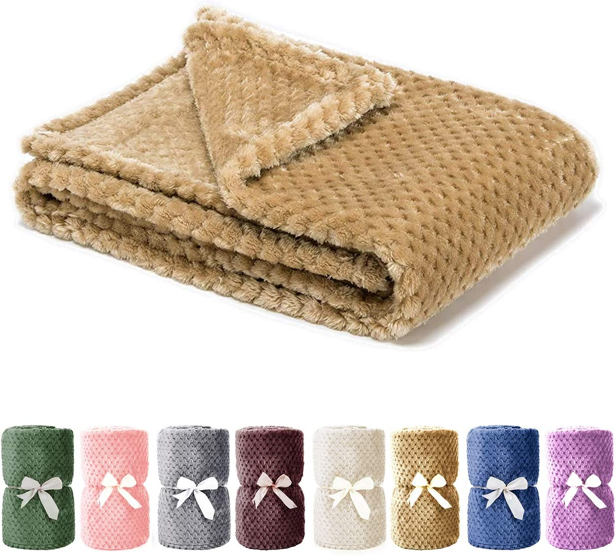Msicyness Dog Blanket, Premium Fleece Fluffy Throw Blankets Soft and Warm Covers for Pets Dogs Cats(Medium Khaki)