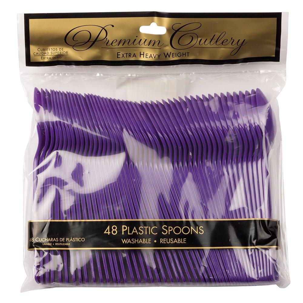 Amazon.com: JAM PAPER Premium Utensils Party Pack - Plastic Spoons - Purple - 48 Disposable Spoons/Pack: Kitchen & Dining
