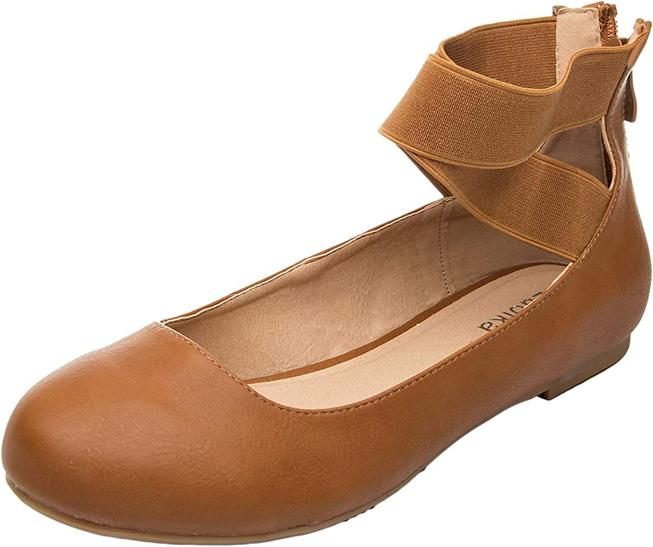 533e0b7bcb67b Women's Wide Width Flat Shoes - Elastic Cross Straps Slip On Round Toe  Ballet Flats.
