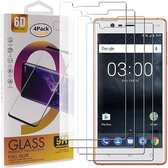 Guran 4 Paquete Cristal Templado Protector de Pantalla para Nokia 3 Smartphone 9H Dureza Anti-Ara?azos Alta Definicion Transparente Película: Amazon.es: Electrónica