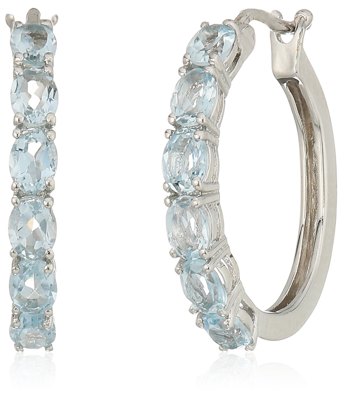 Sterling Silver Oval Hoop Earrings, 3/4 3/4 Amazon Collection E2543WAQUA