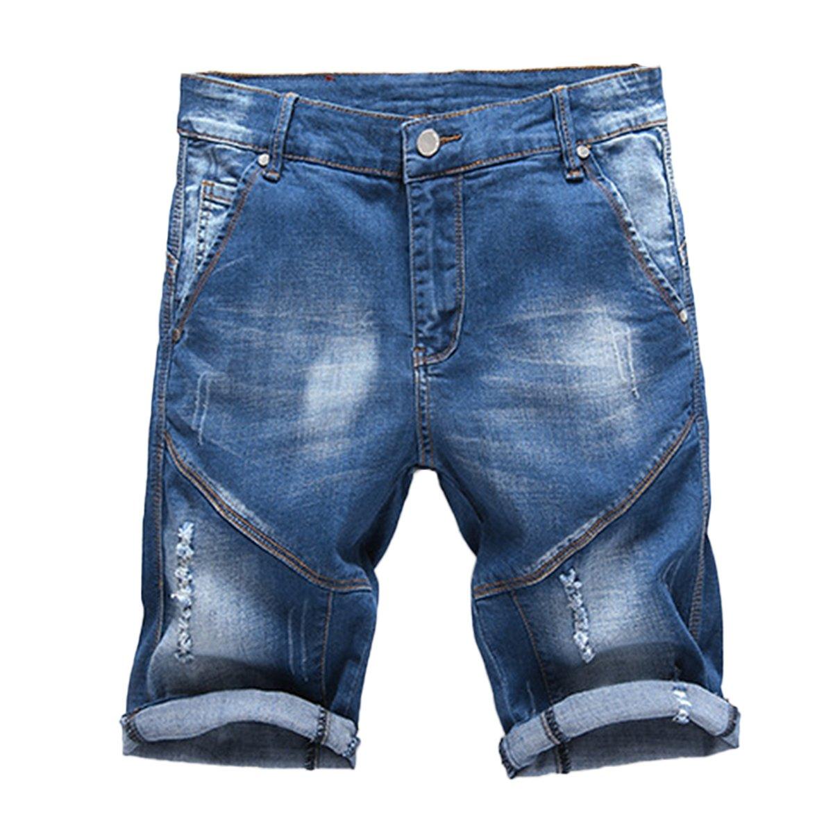 Cloudstyle Men's Fashion 5 Pocket Stretch Denim Jean Knee Shorts