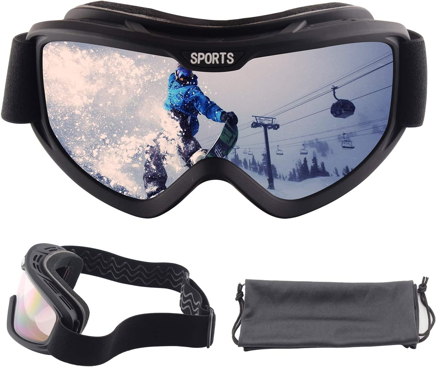 OULIQI Outdoor Anti-Fog Ski Goggles for Men Women Adult,Snowboard Goggles for Men Adjustable UV Protective Safety Outdoor Glasses for Cycling, Climbing