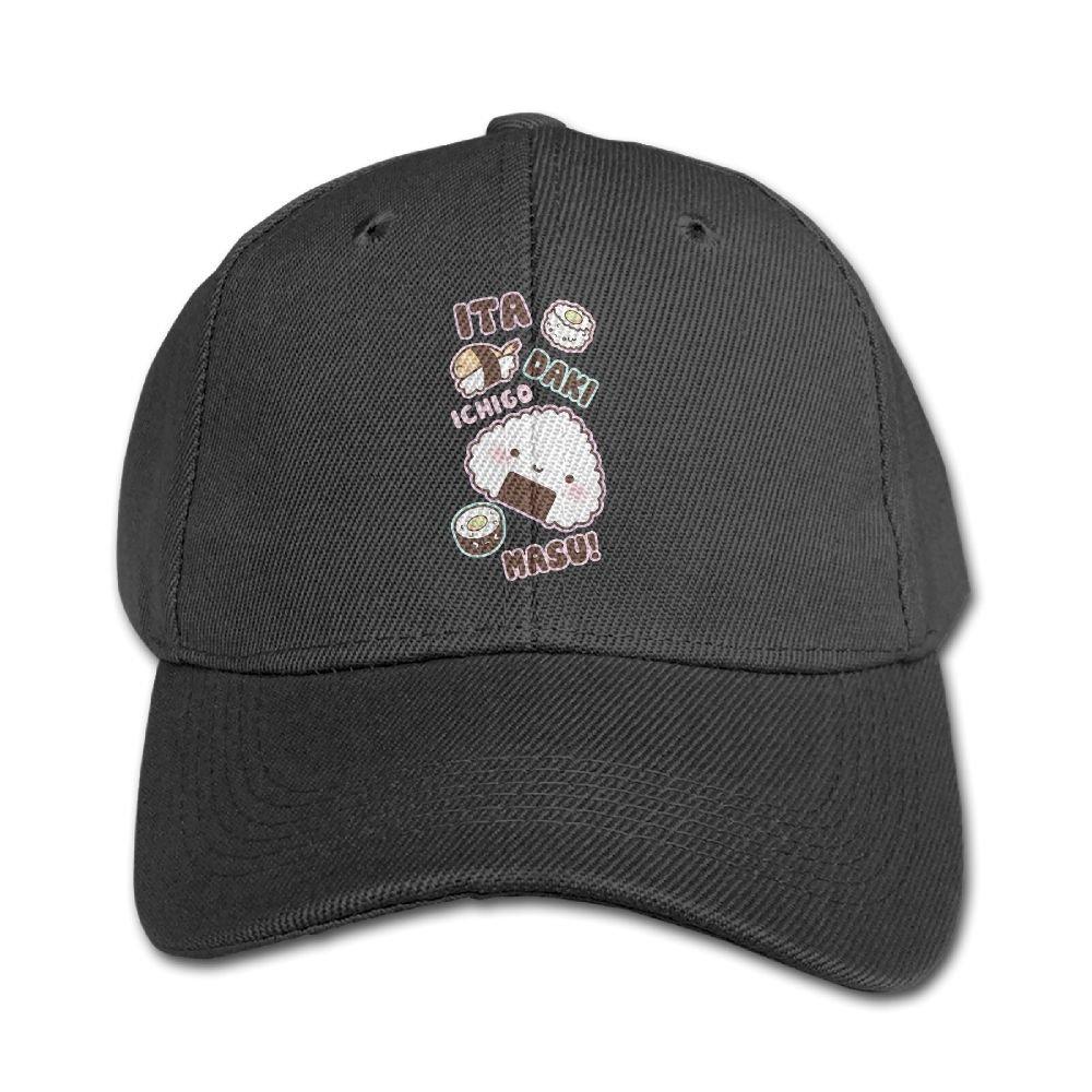 Haibaba Kawali Cute Sushi Boys and Girls Black Baseball Caps Solid Hats