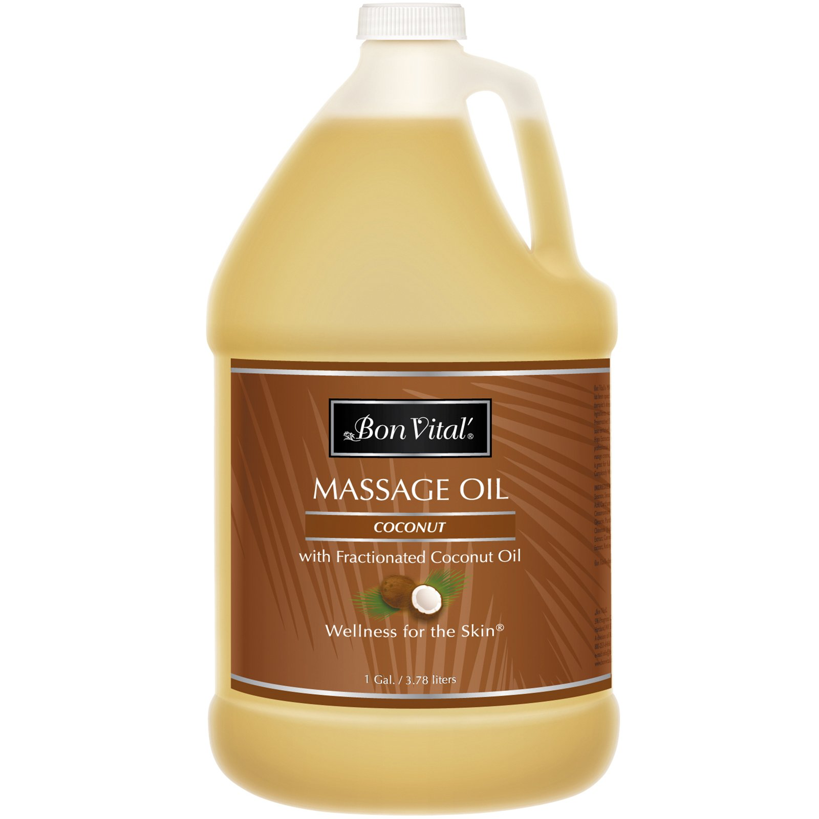 Bon Vital' Coconut Massage Oil Made with 100% Pure Fractionated Coconut Oil to Repair Dry Skin, Used by Massage Therapists and At-Home Use for Therapeutic Massages and Relaxation, 1 Gallon Bottle