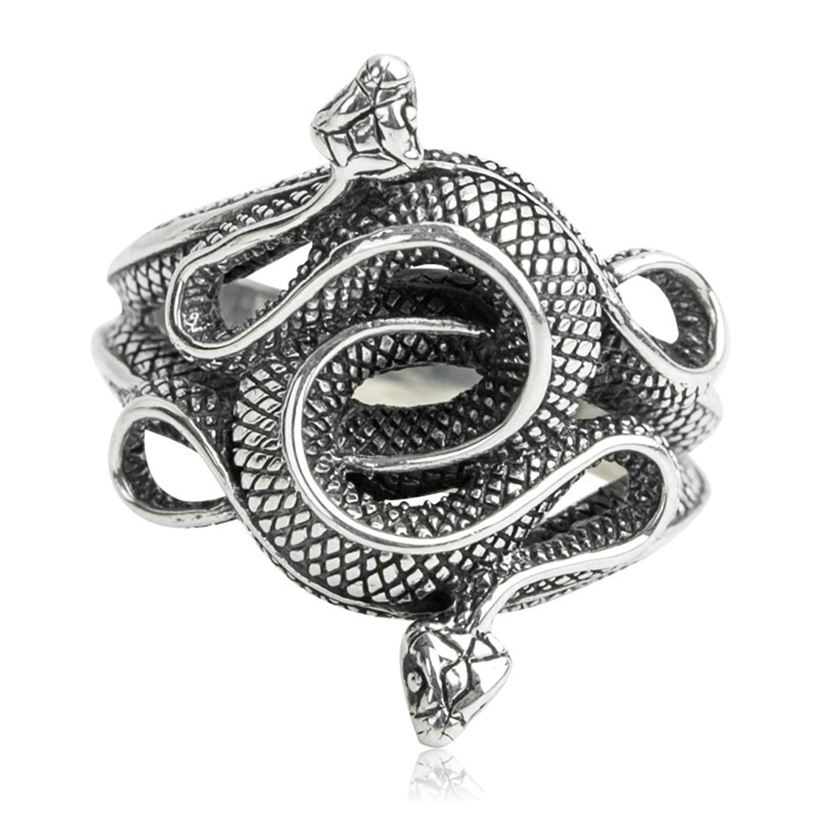 Adisaer Biker Rings Silver Ring for Men Two Snake Ring Size 9.5 Vintage Punk Jewelry