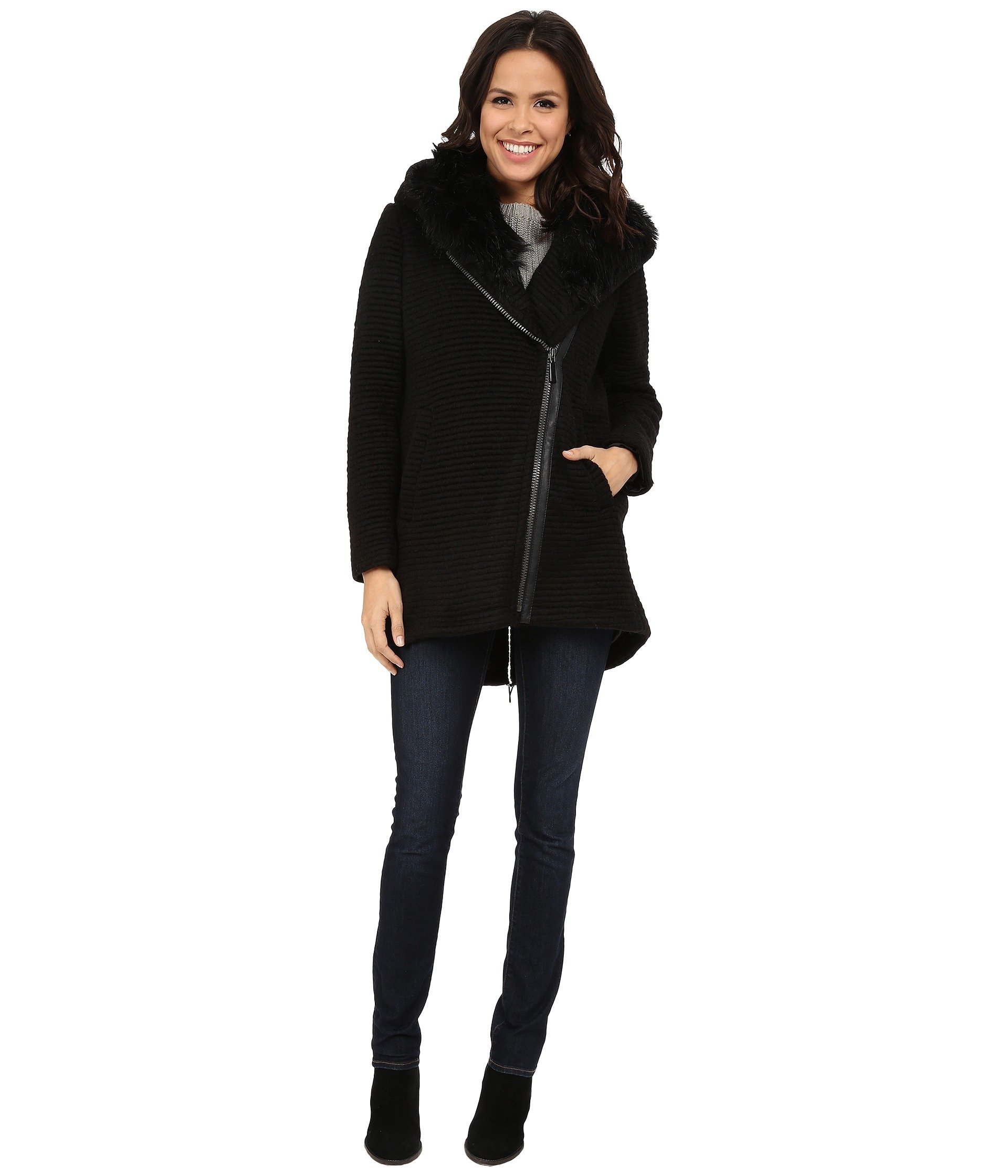 Vince Camuto Women's Fur Hood Sweater Coat J8241 Black Medium