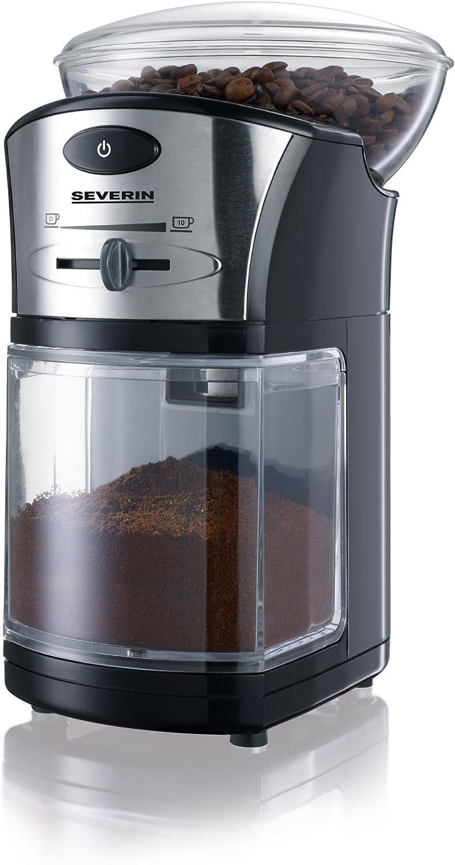 SEVERIN KM 3874 Molinillo de Café, Discos de Acero Inoxidable, Máx. Capacidad 150 g, 100 W aprox., Negro/Plateado