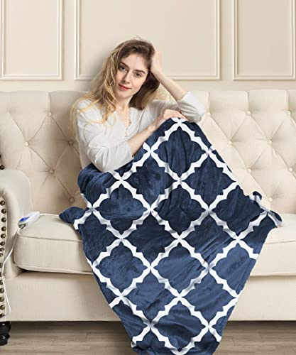 MIZZEO Electric Heated Blanket 84″ x 90″ Queen Size Fast Heating Blankets 100 Polyester Velvet 10 Heating Levels 1-12 Hours Auto-Off ETL Certified Machine Washable Navy