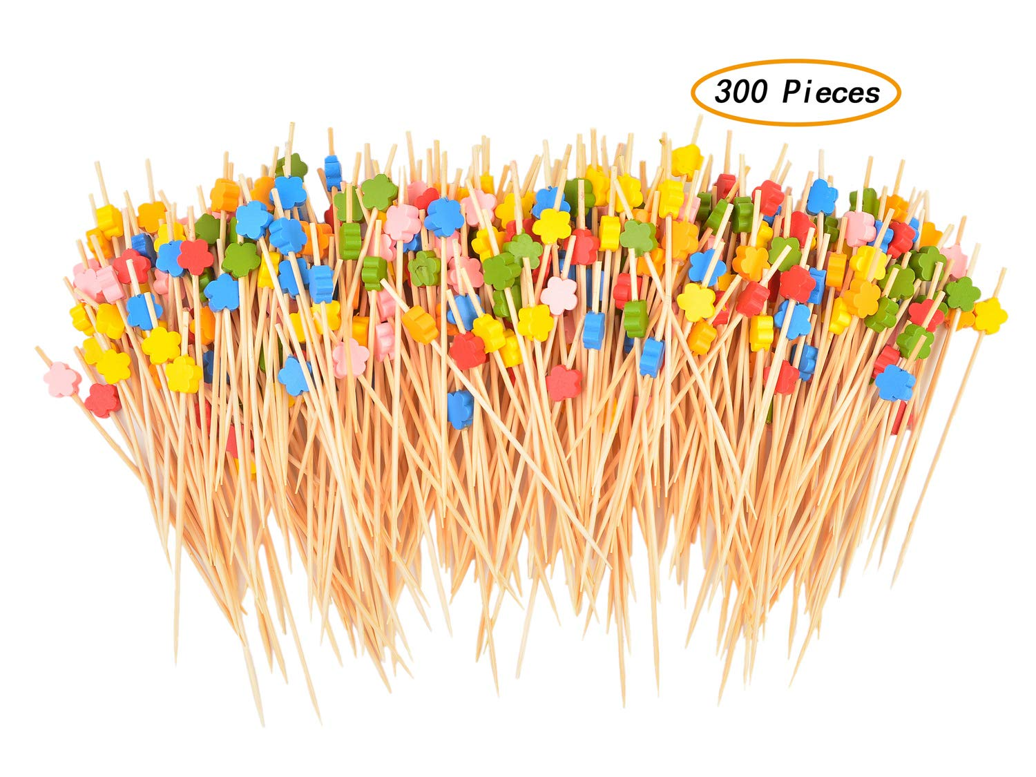 Vancool 300 Pieces Cocktail Picks Handmade Bamboo Toothpicks, 4.7 Inches Assorted Color Cherry