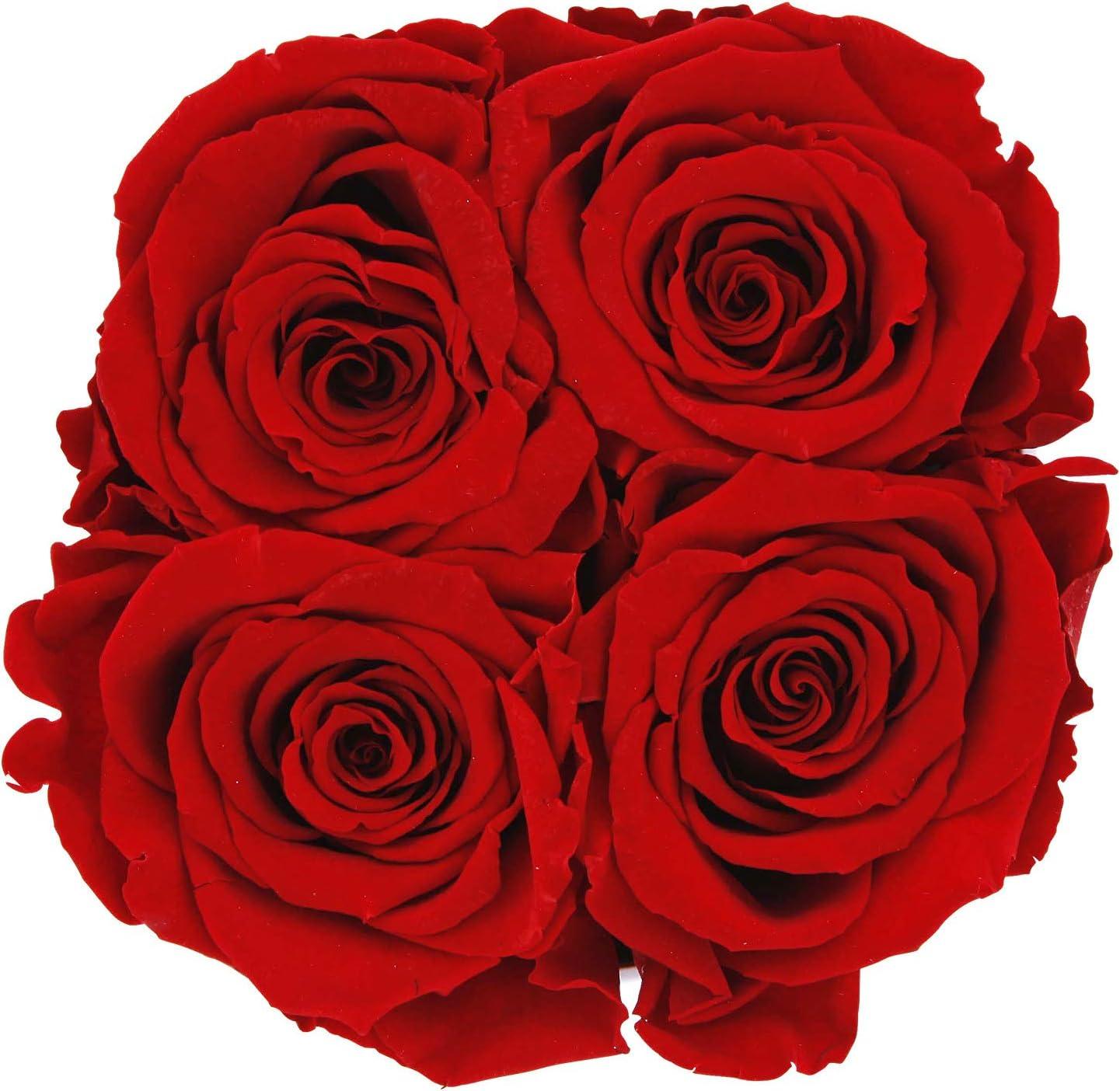 Mia Milano /® Scatola di rose con 4 rose Infinity fiori conservati 3 anni durevoli Fioriera confezione regalo di matrimonio Bianco- Rosso