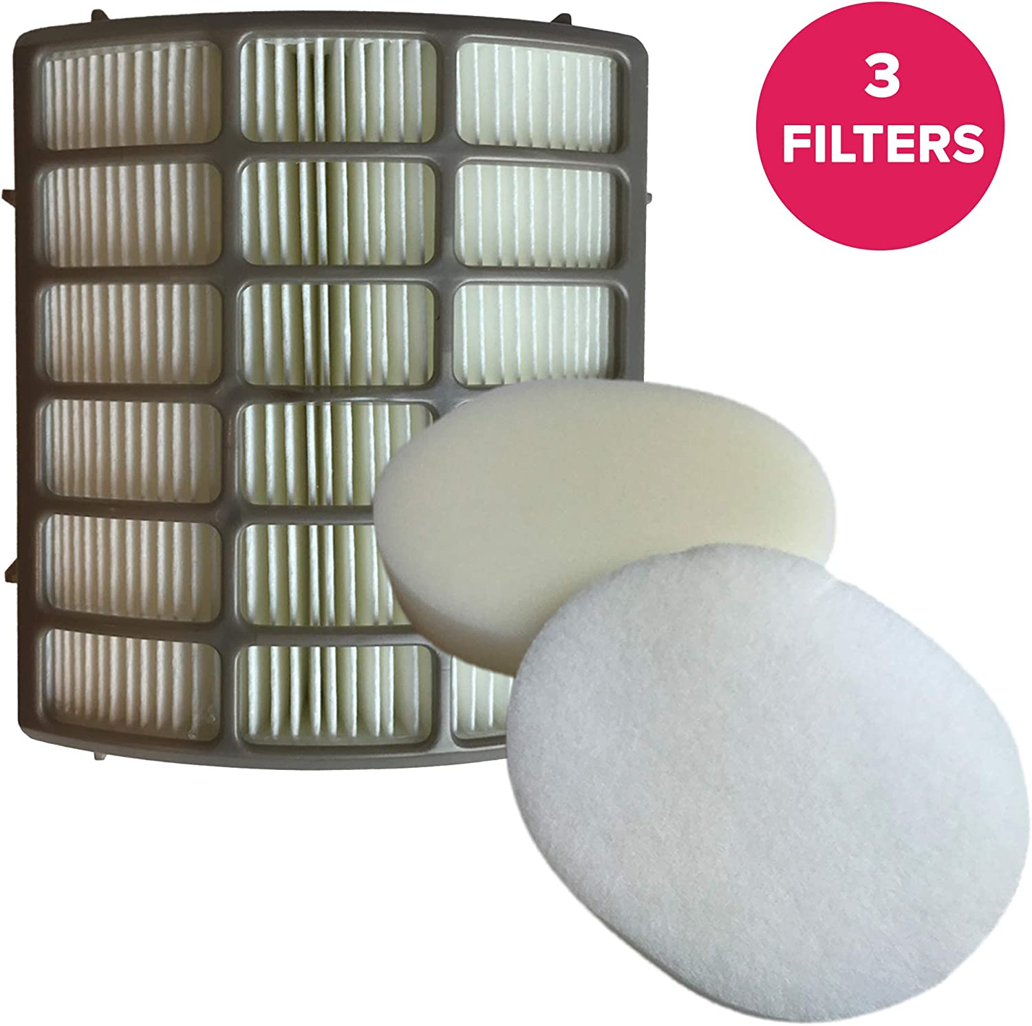 Crucial Vacuum Replacement Vacuum Filter Compatible with Shark HEPA Style Filter Part # XFF80, Foam & Felt Filter Part # XFF80NZ - Fits Shark XHF80, NV-80, UV420, UV440 ? Bulk (3 Filters)