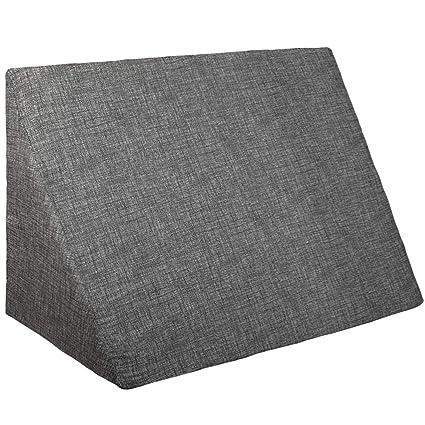 Innovaciones Roser Cojín Cuña | Almohada Lectura Lumbar | Almohada Terapéutica. Cojin Sofá y para Cama, Color Liso Estampado Negro, Medida 60x30x50cm