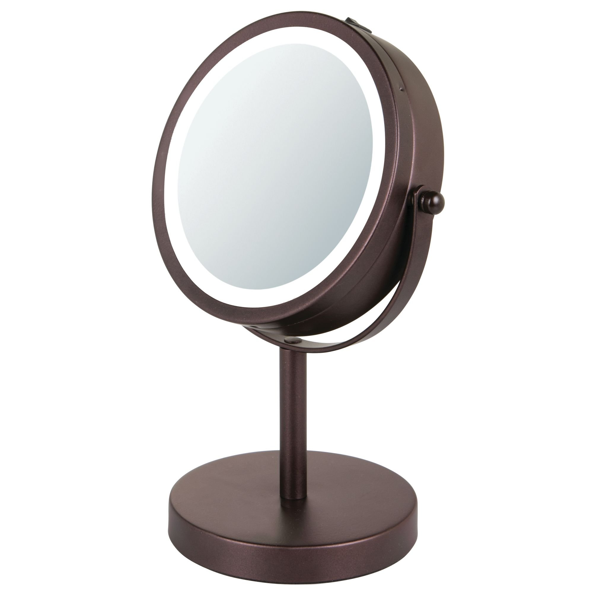 mDesign 10-Inch Free-Standing Portable Double-Sided Vanity Mirror with Lighting for Bathroom – Bronze