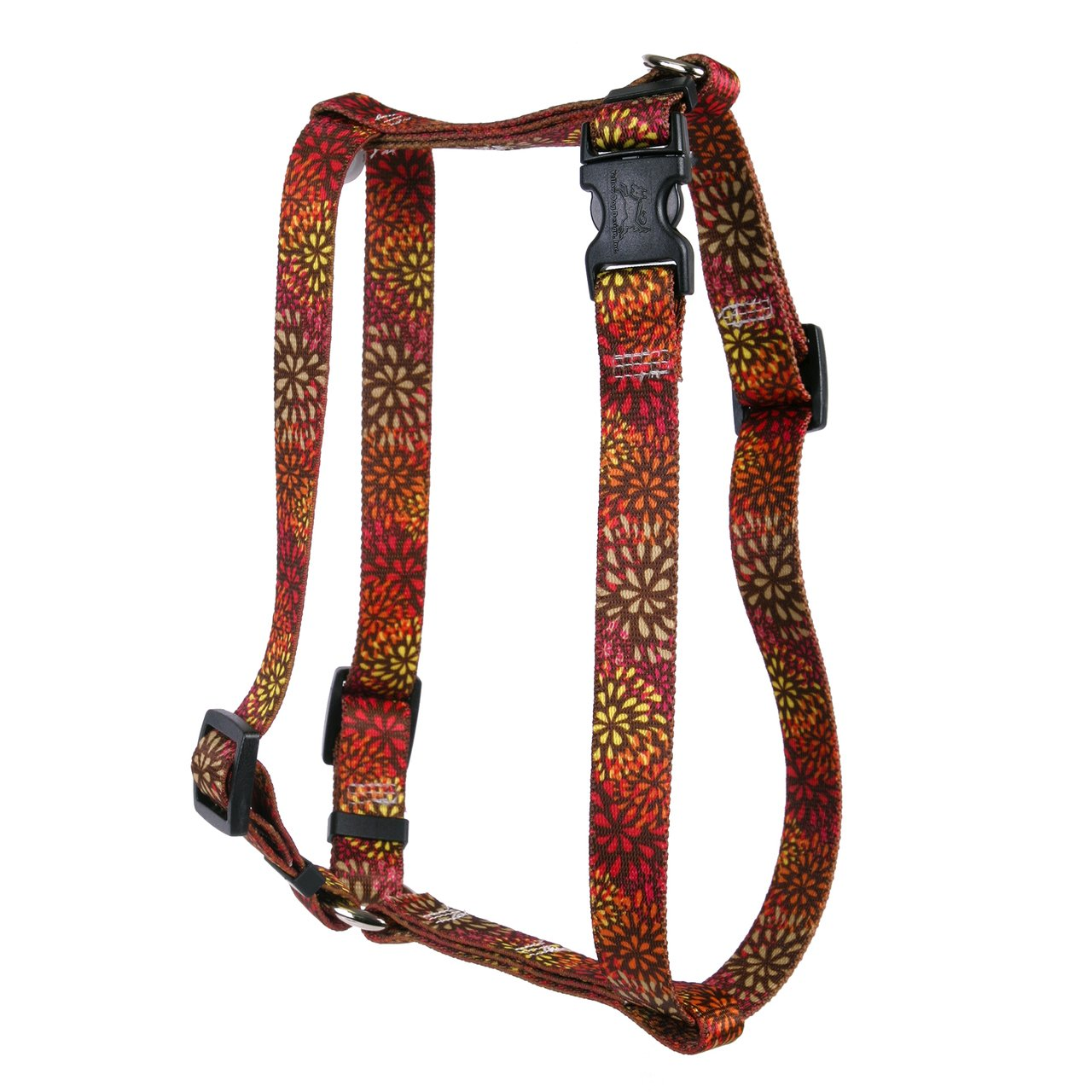 Large 20\ Yellow Dog Design Flower Works Red Roman Style H Dog Harness, Large