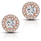 Halo CZ Stud Earrings – 18k Gold Plated Stunning Brilliant Cut Cubic Zirconia Sparkle Earrings For Women Girls.