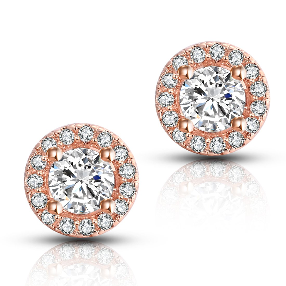 18K Rose Gold-Plated Cluster Round Cut Stud Earrings (1.66cttw) Sally Ornament Co. Ltd. EAG-03-RG